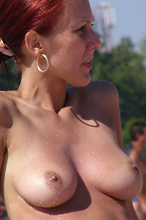 Tits of all colours and sizes on the beach
