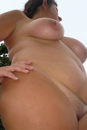 Nude fat mature housewife in a nudist camp