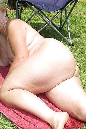 Nudist grandmothers near their houses