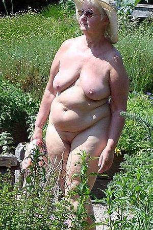 Nudist grannies posing naked outdoors