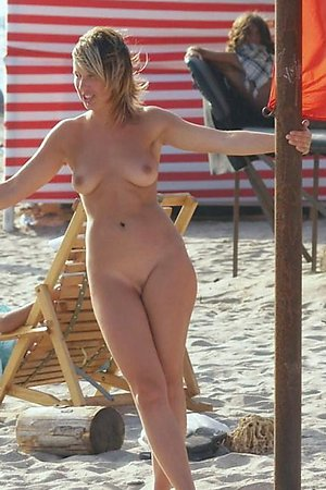 A girl on open swim suit at the Biarritz