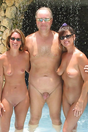 Lucky old men with his nudist young and old ladies