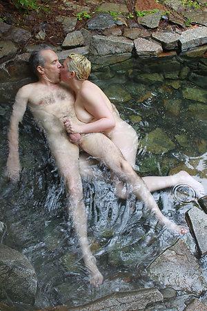Nudist old men with their teen girlfriends