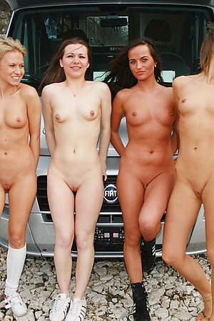 Horny nudists in groups